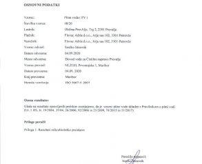 Poročilo o dezinfekciji - 5.9.2020