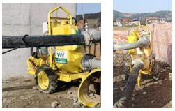 Črpanje vode, črpalki na JV in SZ vogalu gradbene jame - 25.03.2021